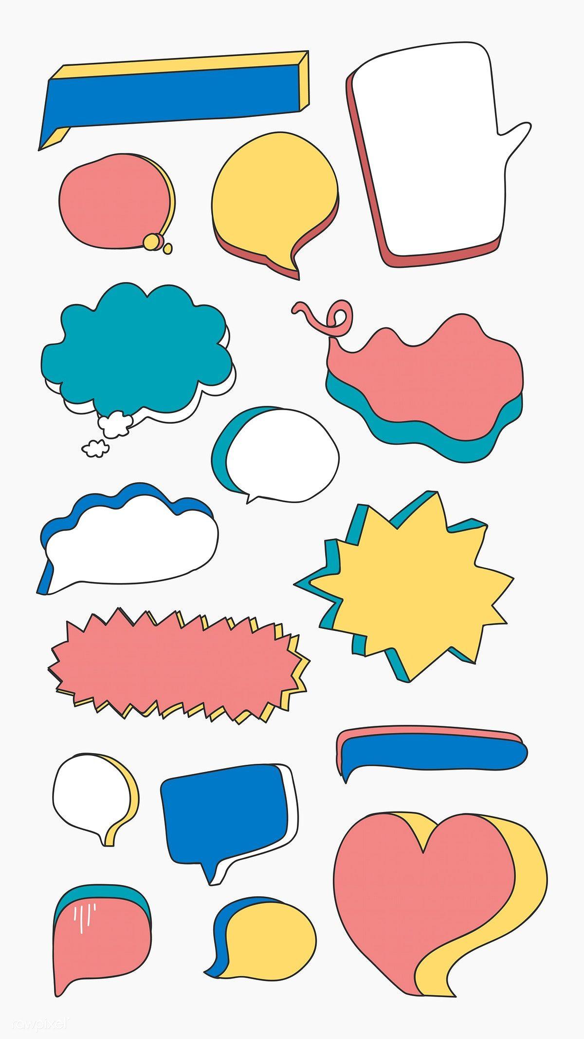 Colorful doodle speech bubble vectors collection free