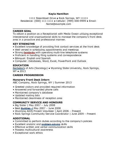receptionist resume template wordstemplates resume templates
