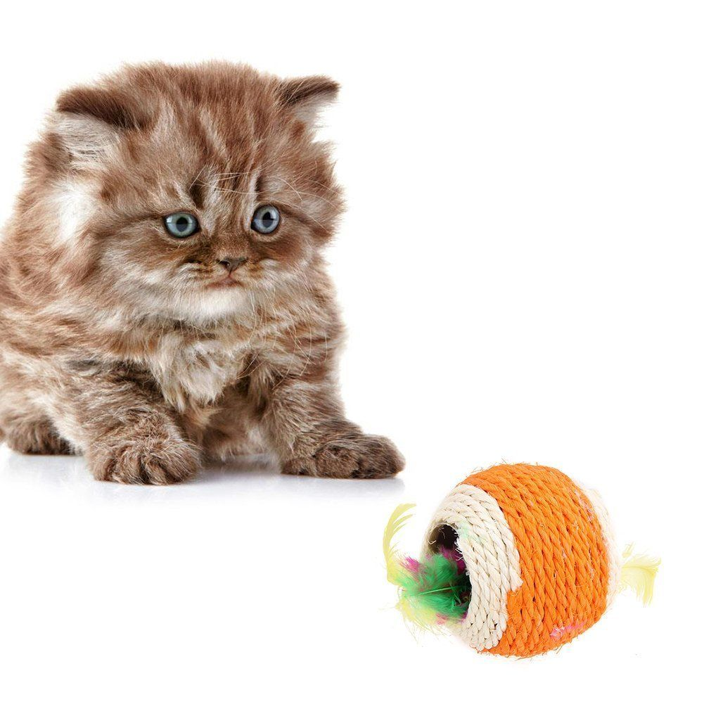 Cat S Easter Gift Big Two Holes Sisal Ball Pet Dog Cat Toys Feather Rope Weave Teaser Play Chewing Balls Kitten Inte Cat Toys Cats And Kittens Cat Pet Supplies
