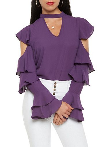 787d74c7d172a2 Tiered Long Sleeve Cold Shoulder Blouse