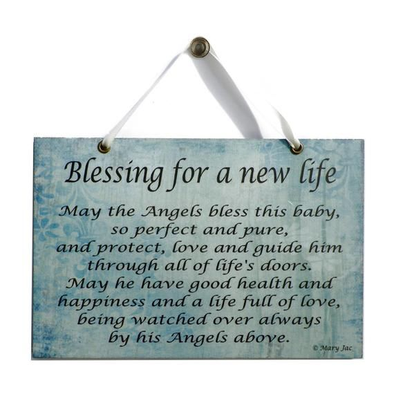 New Baby Boy Gift Blessing For A New Life Handmade Home Sign Christening Resent Baby Plaque 560 Baby Blessing Quotes Prayers For New Baby New Baby Quotes