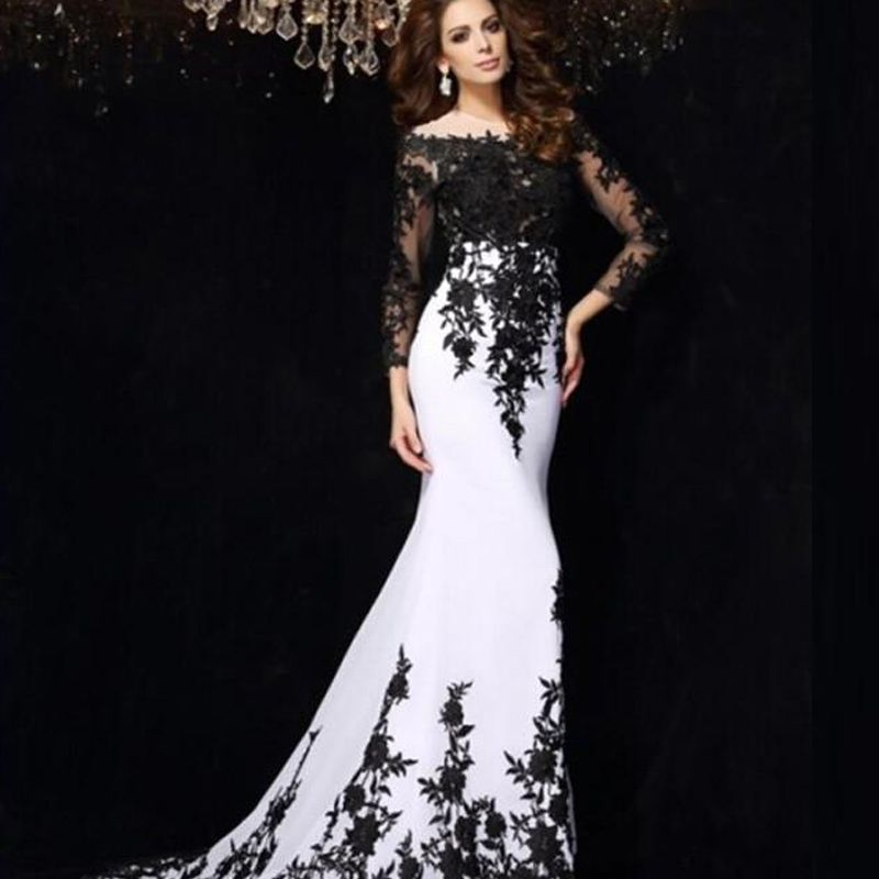 Black and White Lace Prom Dress
