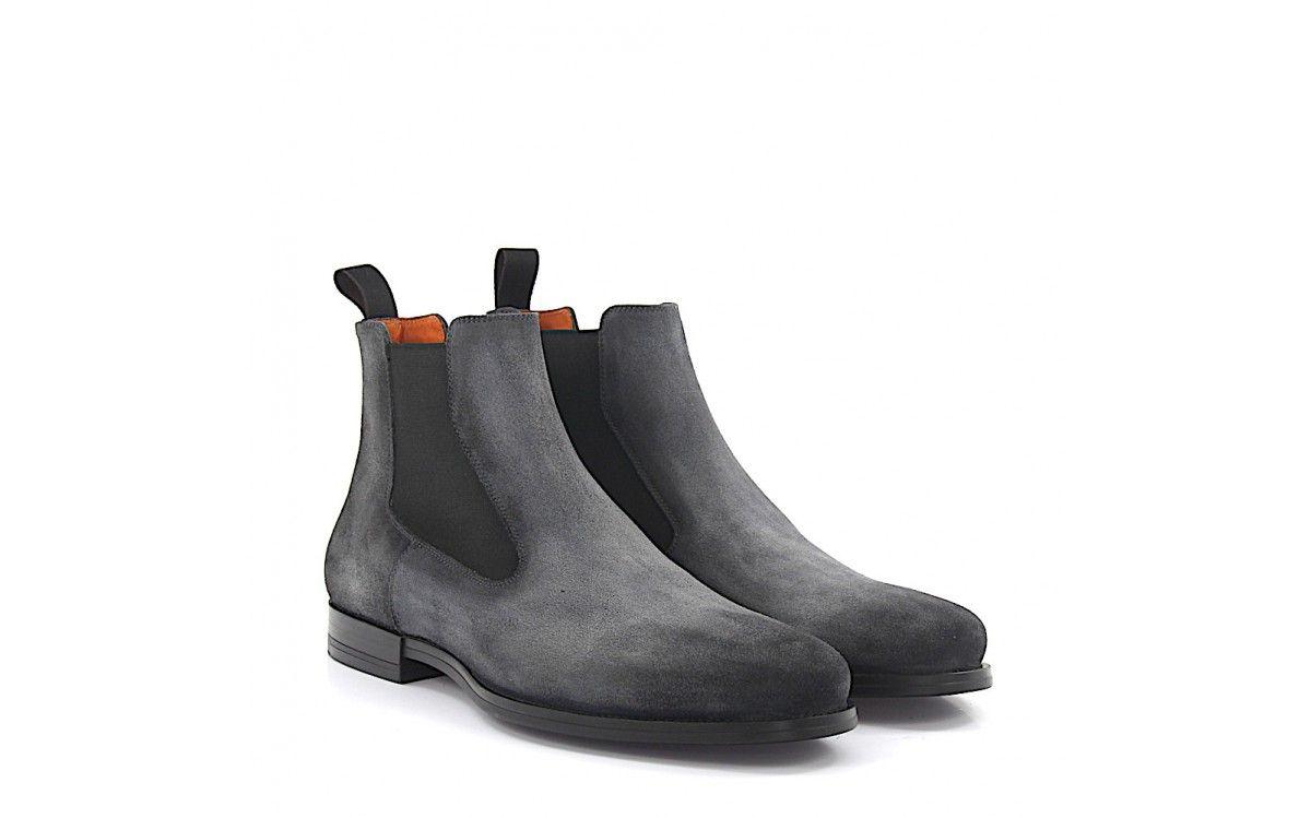 Santoni Chelsea Boots Kalbsleder grau
