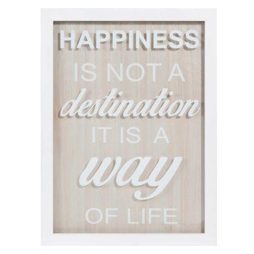 Tableau en bois 30 x 40 cm HAPPINESS