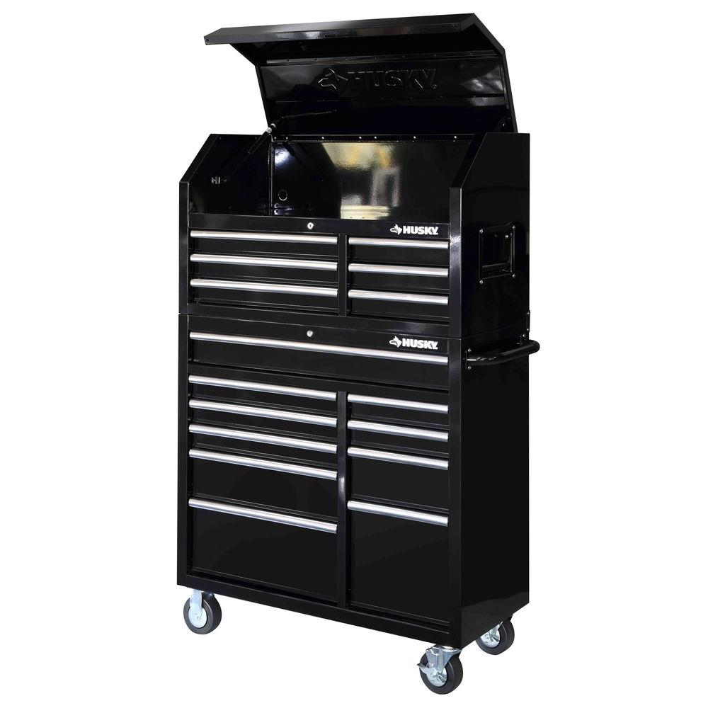 Husky 26 In W 4 Drawer Tool Chest In Gloss Black Hkst98065bk The Home Depot Tool Chest Tool Storage Drawer Liner