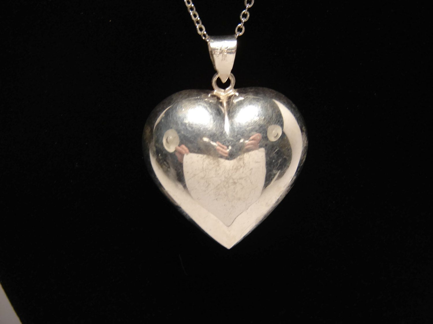 Large sterling puffy heart pendant sterling silver vintage jewelry large sterling puffy heart pendant sterling silver vintage jewelry silver heart 1990s jewelry 925 silver puffed heart aloadofball Images