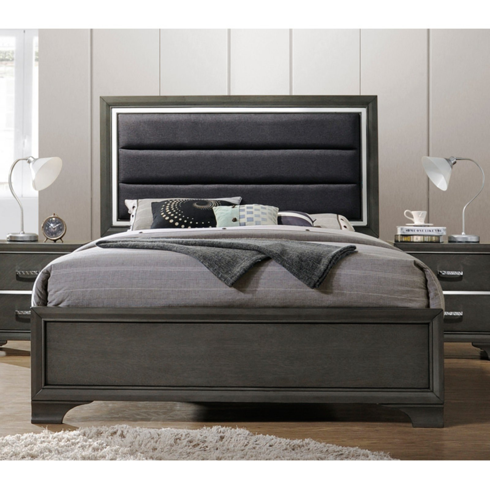 K B Furniture Upholstered Panel Bed Size Queen Panel Bed
