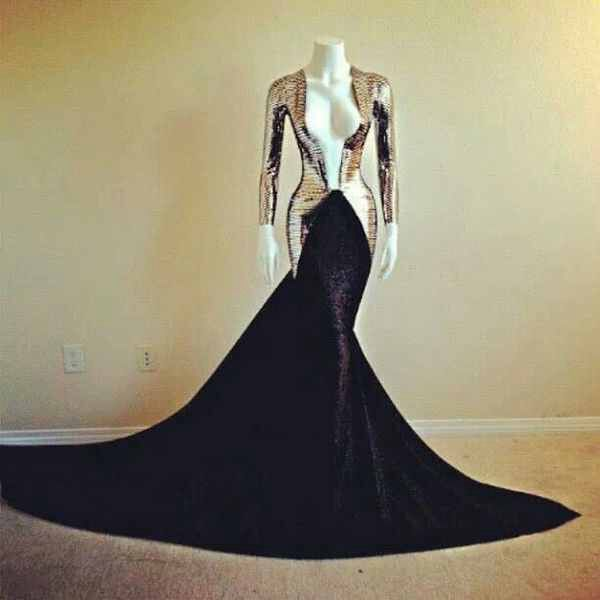 Hot 2014 Special Soft Gold Metal Dresses For Proms Online sexy V-neck Long Sleeve Black Mermaid Evening Dress