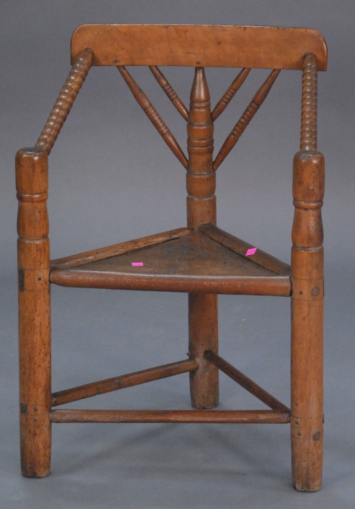 Realized Price: $5,100.00~ Pilgrim Century three legged chair, photo in  Wallace Nutting plate 1775 Fuessenich Collection - - Realized Price: $5,100.00~ Pilgrim Century Three Legged Chair, Photo