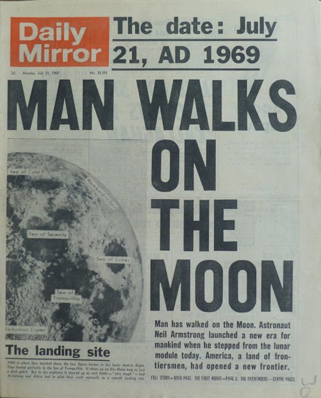 Photo of Man Walks on the Moon. Daily Mirror 21st July, 1969. #news