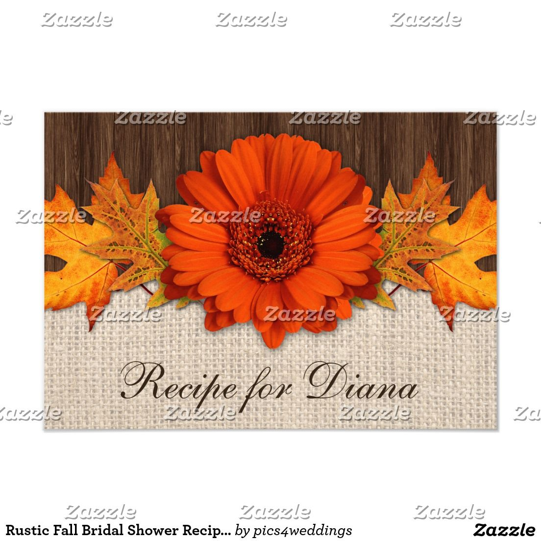 Rustic Fall Bridal Shower Recipe Cards Template | Bridal Shower ...