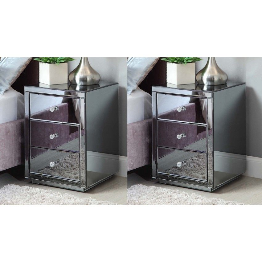 Pair Vegas 3 Drawer Smoke Mirrored Bedside Table Chest Mirror