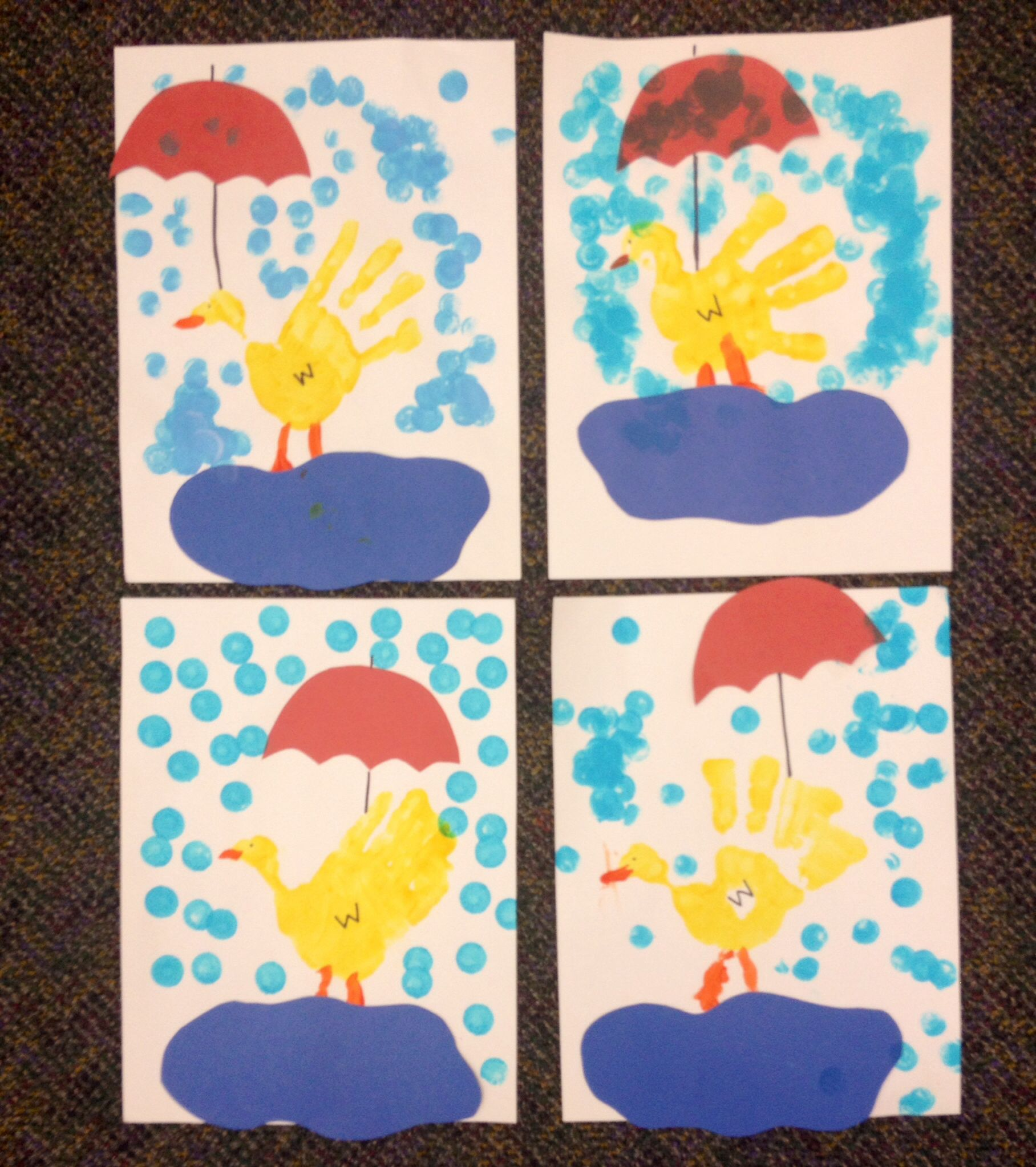 Preschool Crafts Weather Week Handprint Ducks Umbrella Raining Puddle Dobber