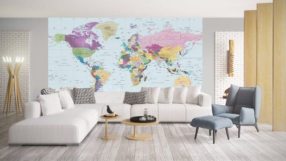 World Map Decal - World Map Wallpaper - Colorful World Map - World Map Mural - Removable Self Adhesi #worldmapmural World Map Decal - World Map Wallpaper - Colorful World Map - World Map Mural - Removable Self Adhesi #worldmapmural