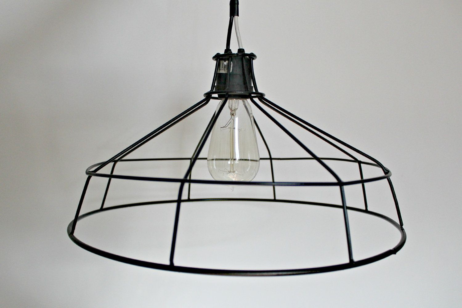 Hanging metal wire lamp shade exposed bulb cage light chandelier