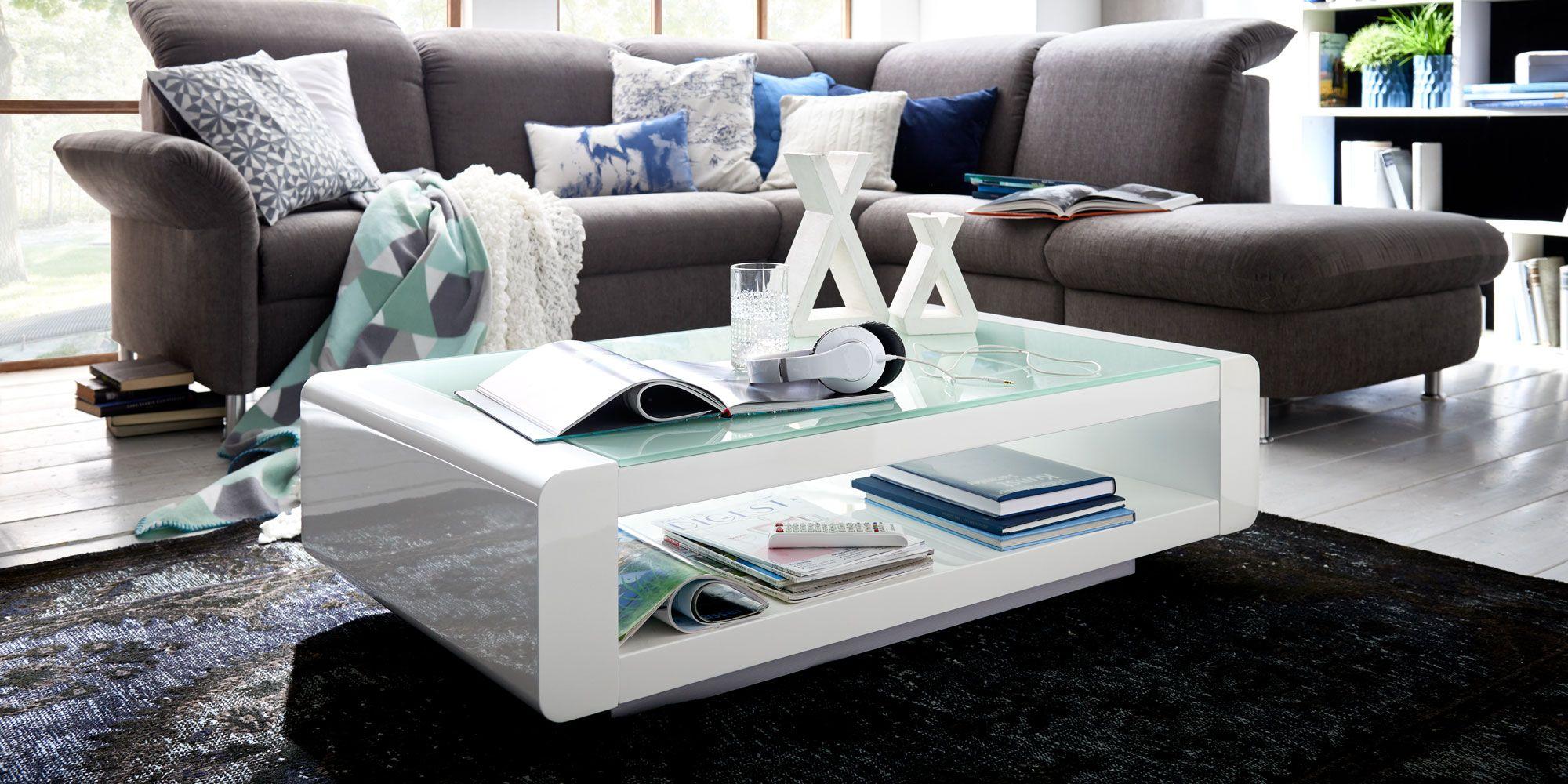 Couchtisch Soleil Weiss Hochglanzlack Weissglas Sicherheitsglas Klare Form Mit Abgerundeten Kanten Ablagemoglichke Glastisch Wohnzimmer Couchtisch Ikea Glastisch