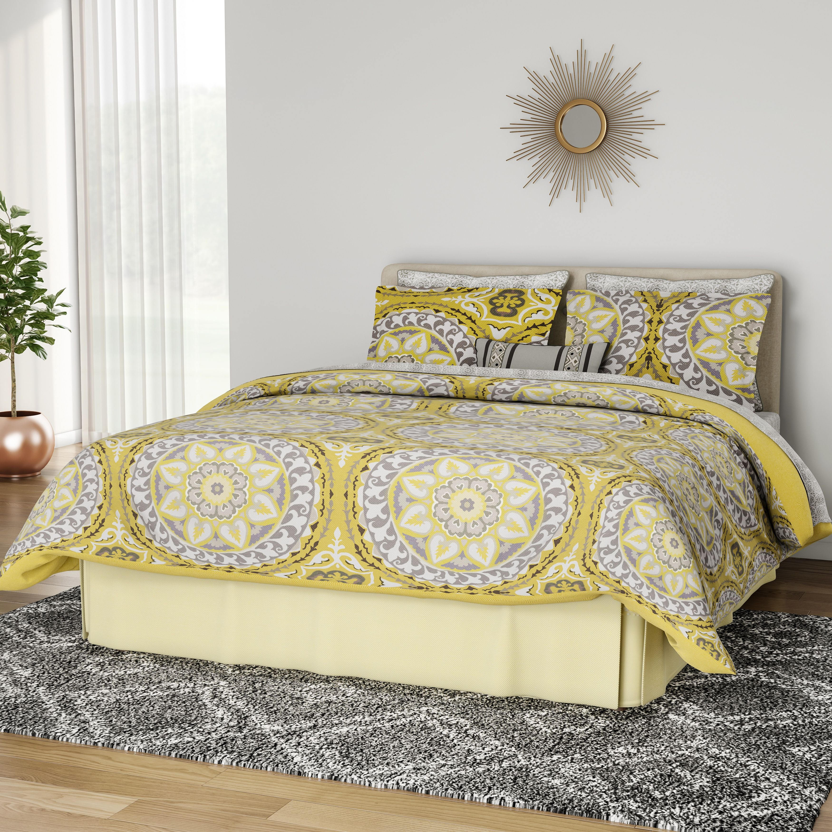 Cancun Palm 4 Piece Bedroom Set Wicker Rattan Queen King: Palm Canyon Antigua Savanah Yellow Complete Comforter And