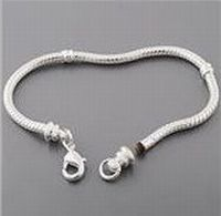 Silver Lobster Clasp Charm Bracelet - 8 inches