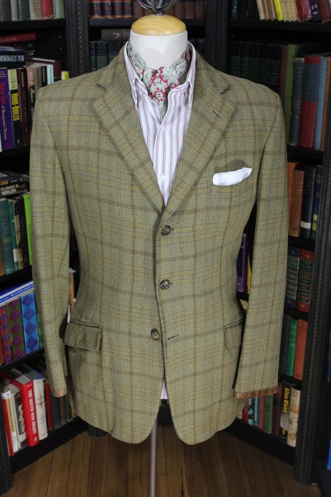 Austin Reed Olive Green Tweed Windowpane Check Plaid Sport Jacket 39 40 Chest