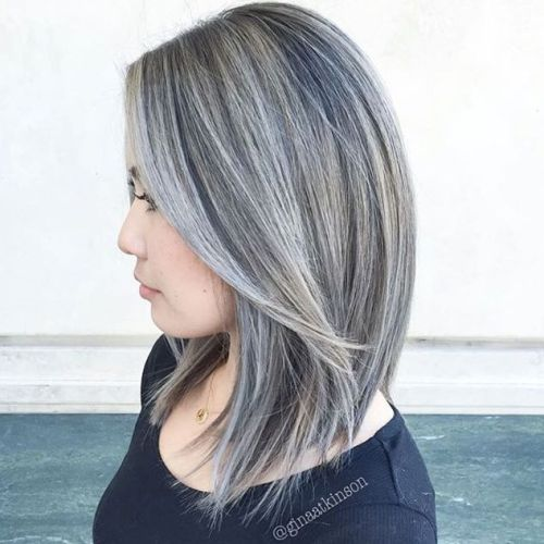 Grey Short Hairstyles With Gold Highlights 30 Shades Of Grey Silver And White Highlights For Eternal Gray Balayage Blending Gray Hair Gray Hair Highlights