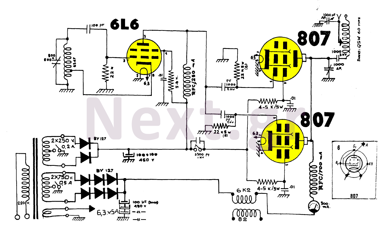 hight resolution of 100w am valve transmitter circuit