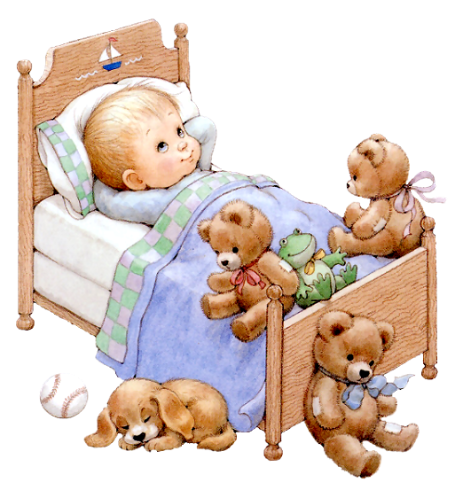 ruth morehead graphics   enfant au lit avec des nounours 28