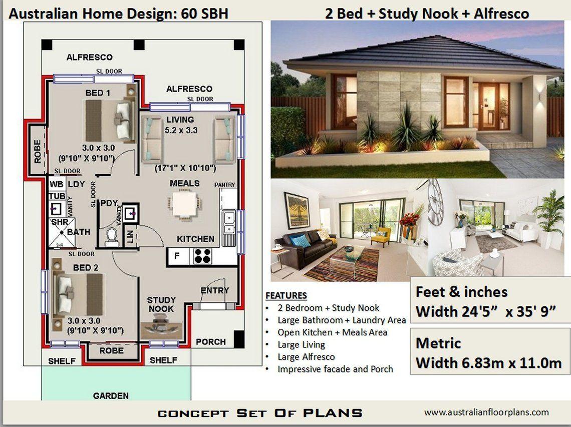 60 m2 645 sq foot 2 Bedroom house plan 60 SBH