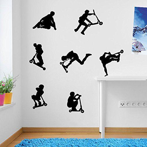 kids stunt scooters jumps tricks wall decorations wall stickers vinyl decor wall art wall decals wall