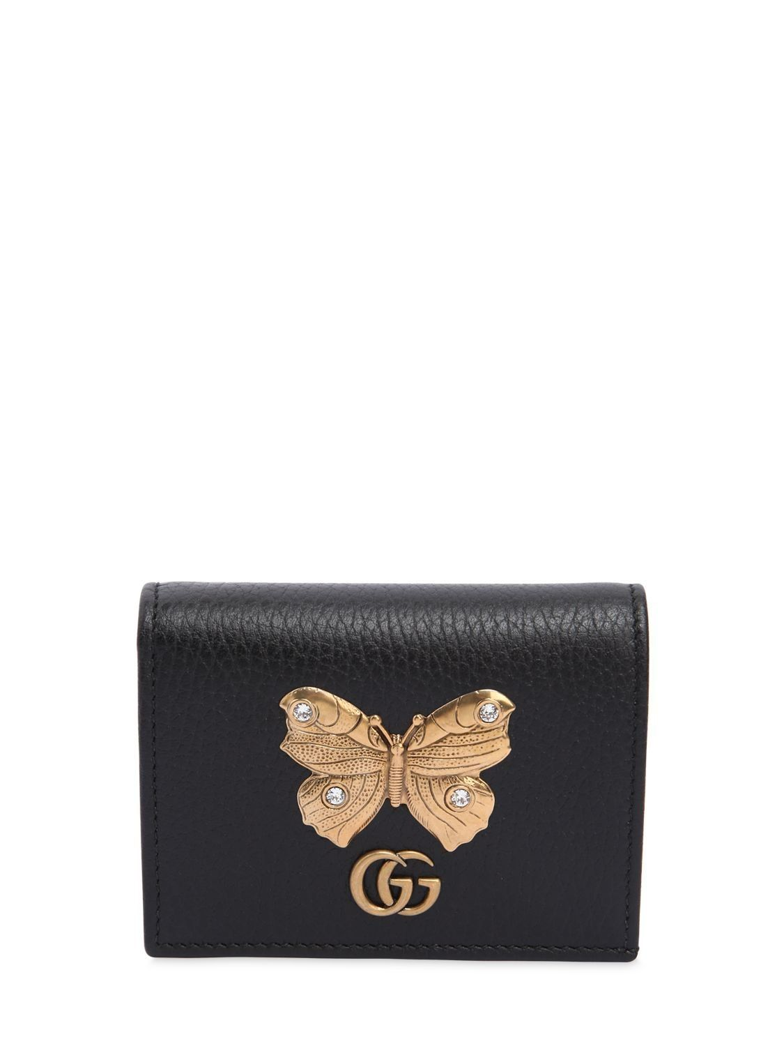 Gucci butterfly leather card case in black modesens