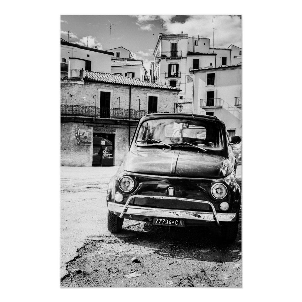Fiat 500, cinquecento in Italy, classic car gift Poster | Zazzle.com