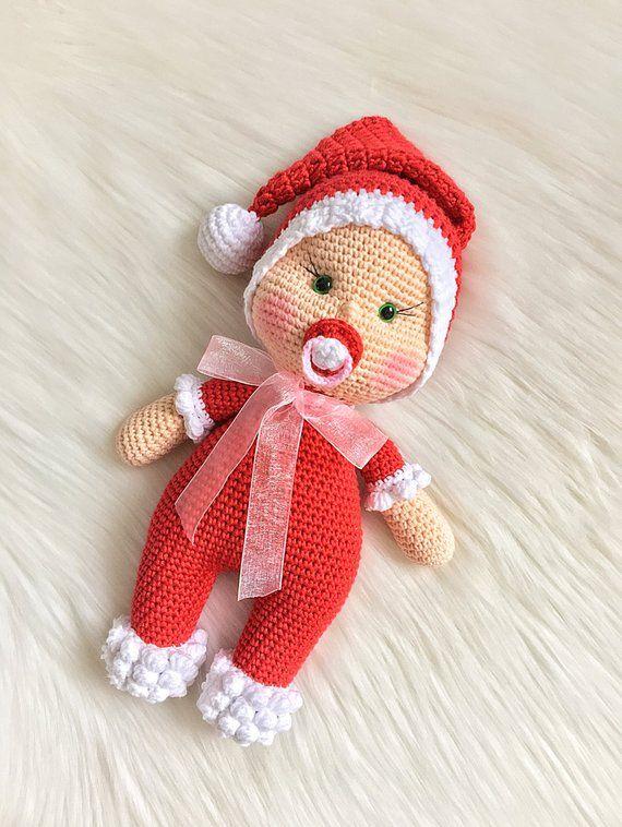 SANTA CLAUSE BABY Crochet Toy / Amigurumi Doll, Gift for Newborn, Gift for Baby, Gift for Sister, Baby Shower Gifts #toys #games #crochet #crochetdoll #amigurumi #amigurumidoll #amigurumitoy #crochettoy #babydoll #doll #babyshower #gifts #baby #babies #dollhats