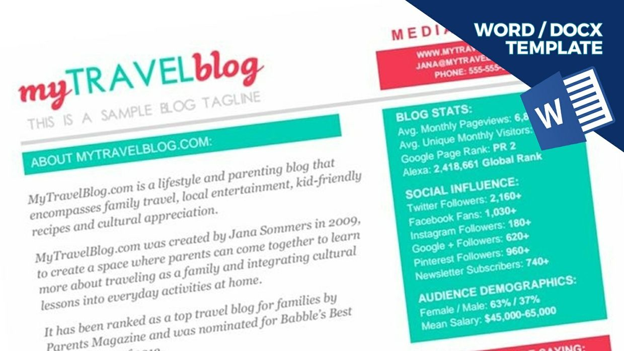 TRAVEL Blogger Media Kit Template [1-page, .docx file, instant ...