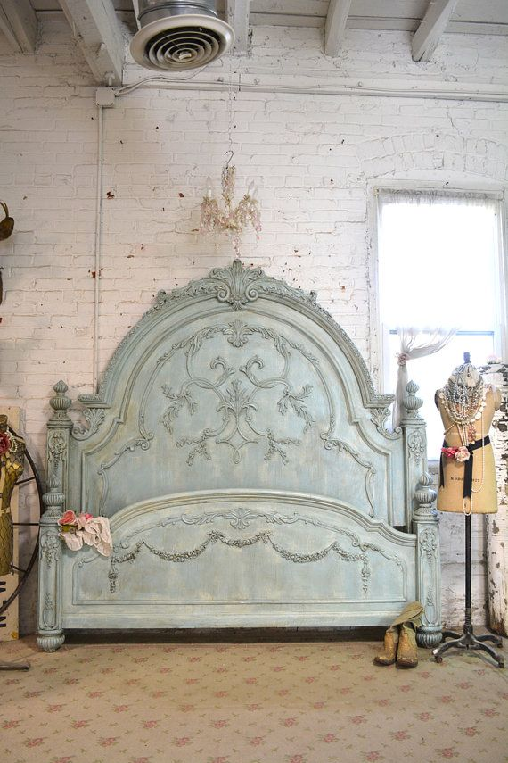 Painted Cottage Chic Shabby Aqua Romance Bed By