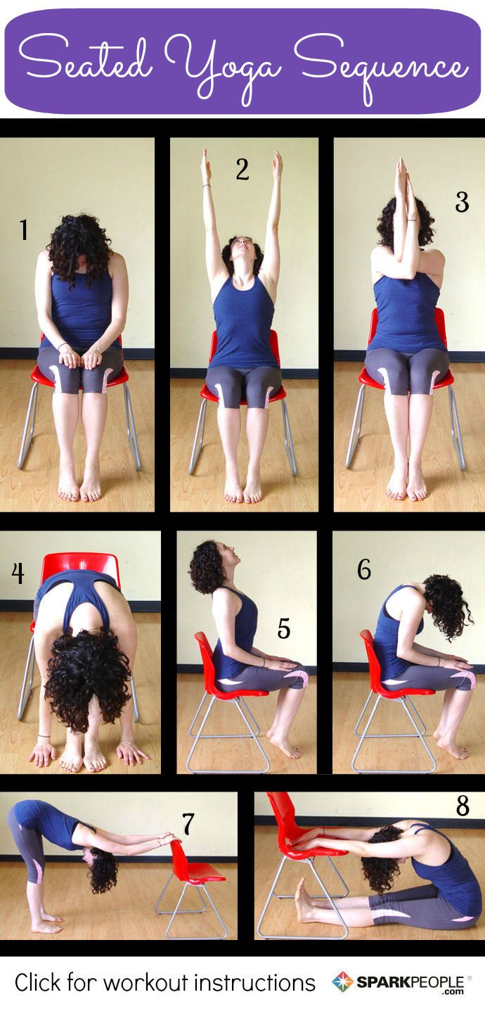 8 Seated Yoga Poses You Can Do From A Chair Seated Yoga Poses Chair Yoga Gentle Yoga