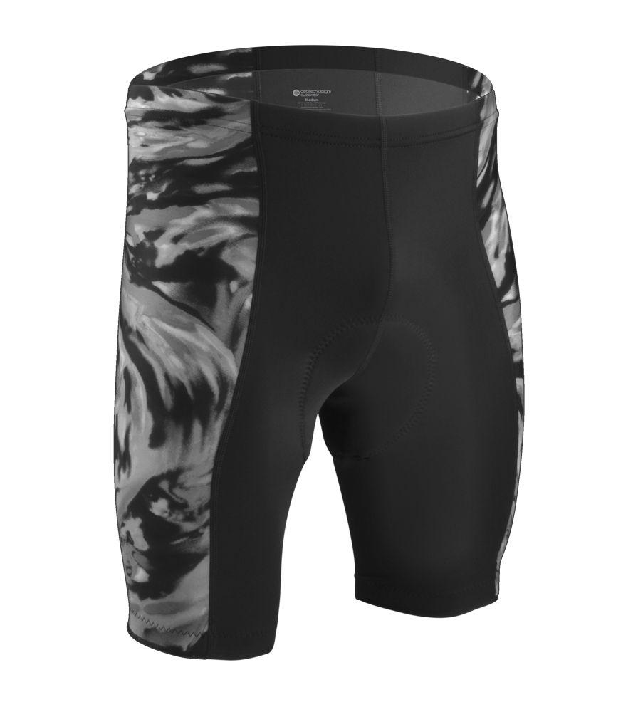 Aero Tech Men S Silver Wave Wild Print Padded Bike Shorts Mens