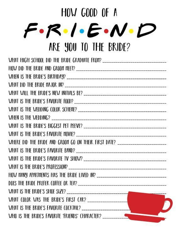 Friends Bridal Shower Game | Friends Bachelorette Game | Friends TV Show | How Well Do You Know The