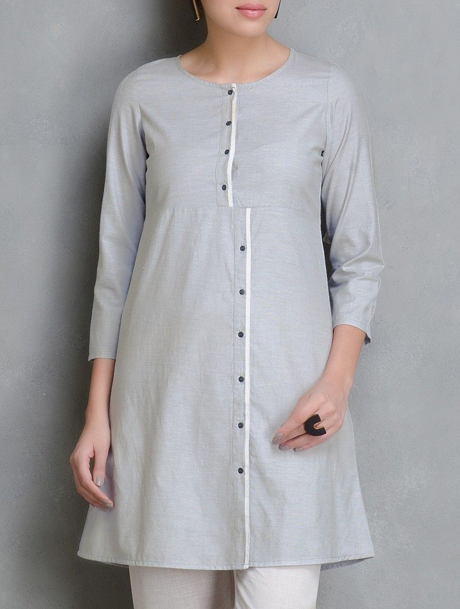 Grey Asymmetric Placket Cotton Tunic | kurti in 2019