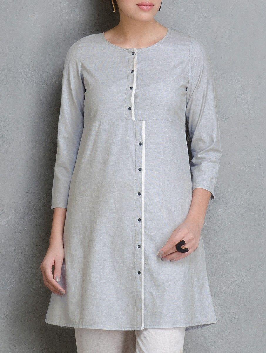 Buy Grey Asymmetric Placket Cotton Tunic Women Tunics Woman Divine ...
