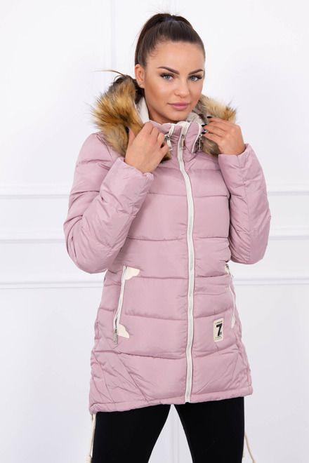 1407c9f7de09 Dámska zimná bunda ružová s krásnym ozdobným zipsom. Bunda má kapucňu a  kozušinku. Je