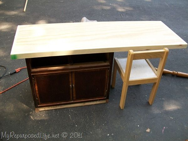 How To Repurposed Nightstand into Child s Desk