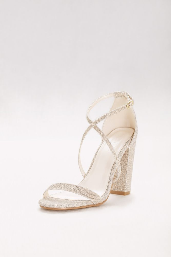 Crisscross Strap Block Heel Sandals Style FRENZY, Silver