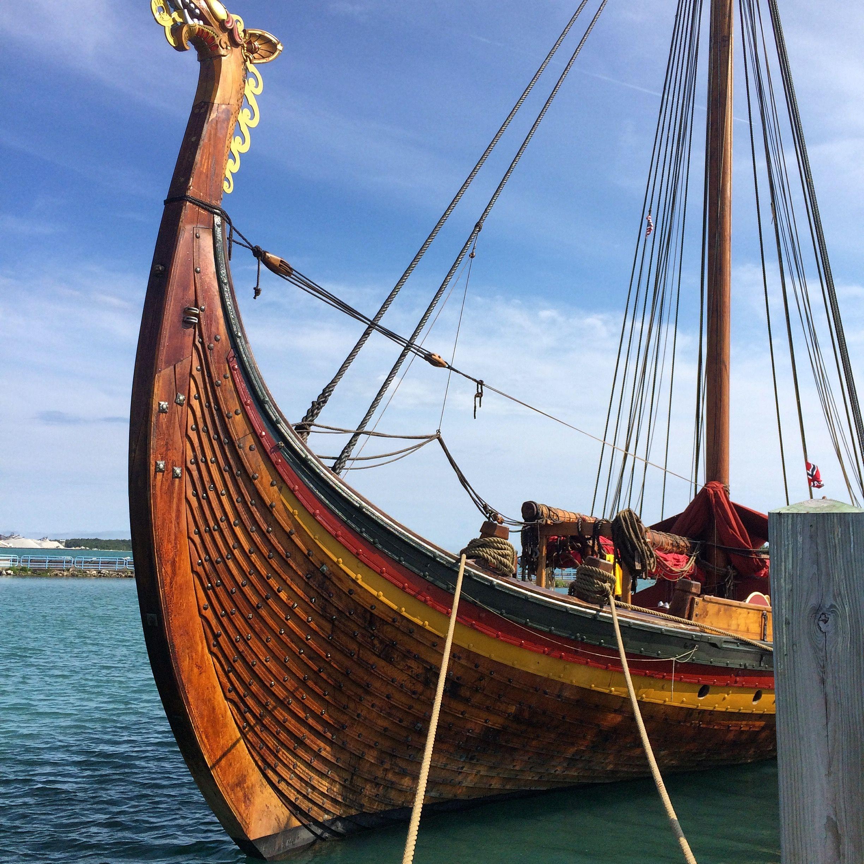 Viking sailing vessel Draken Harald Hårfagre docked at DeTour Village Marina, Mi