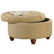 Round Button Upholstered Storage Ottoman