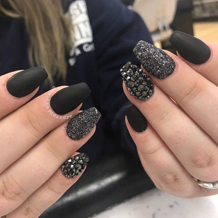 Matte Black With Gold Rhinestones Rhinestone Nails Nails Design With Rhinestones Black Nail Designs