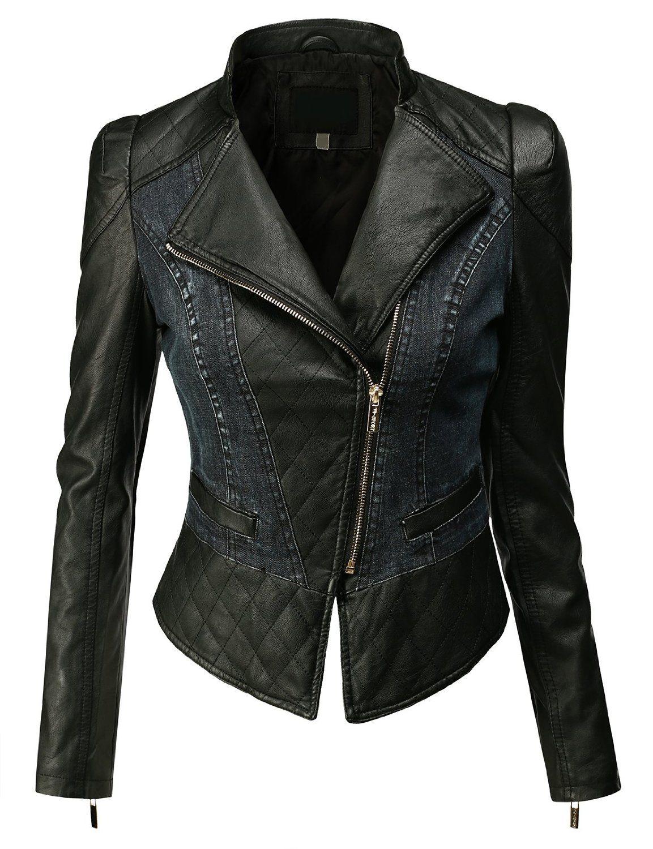 8b722d0455 Leather · Doublju Women s Faux Leather Power Shoulder Jacket ...