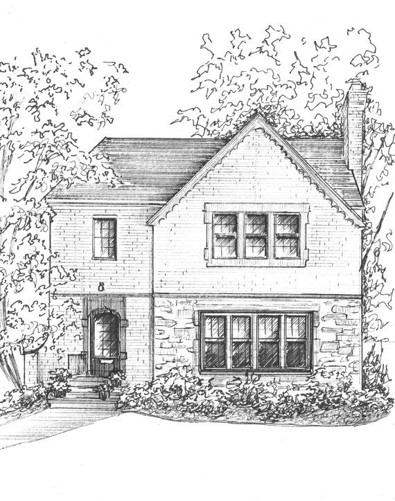 Custom home portrait in ink Architectural by