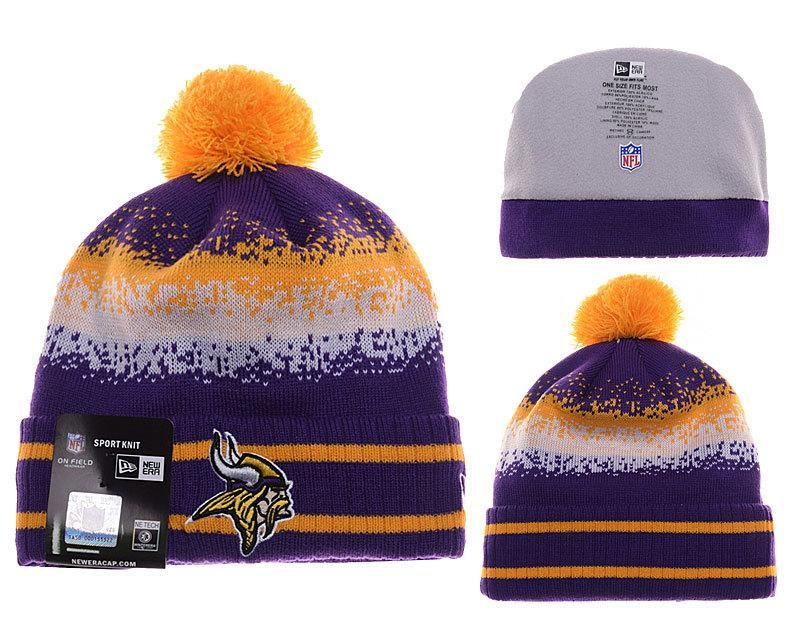 Mens   Womens Minnesota Vikings New Era NFL On-Field Team Colors Fashion  Spec Blend Knit Beanie Hat With Pom - Purple   Gold 56bcdcbbf34