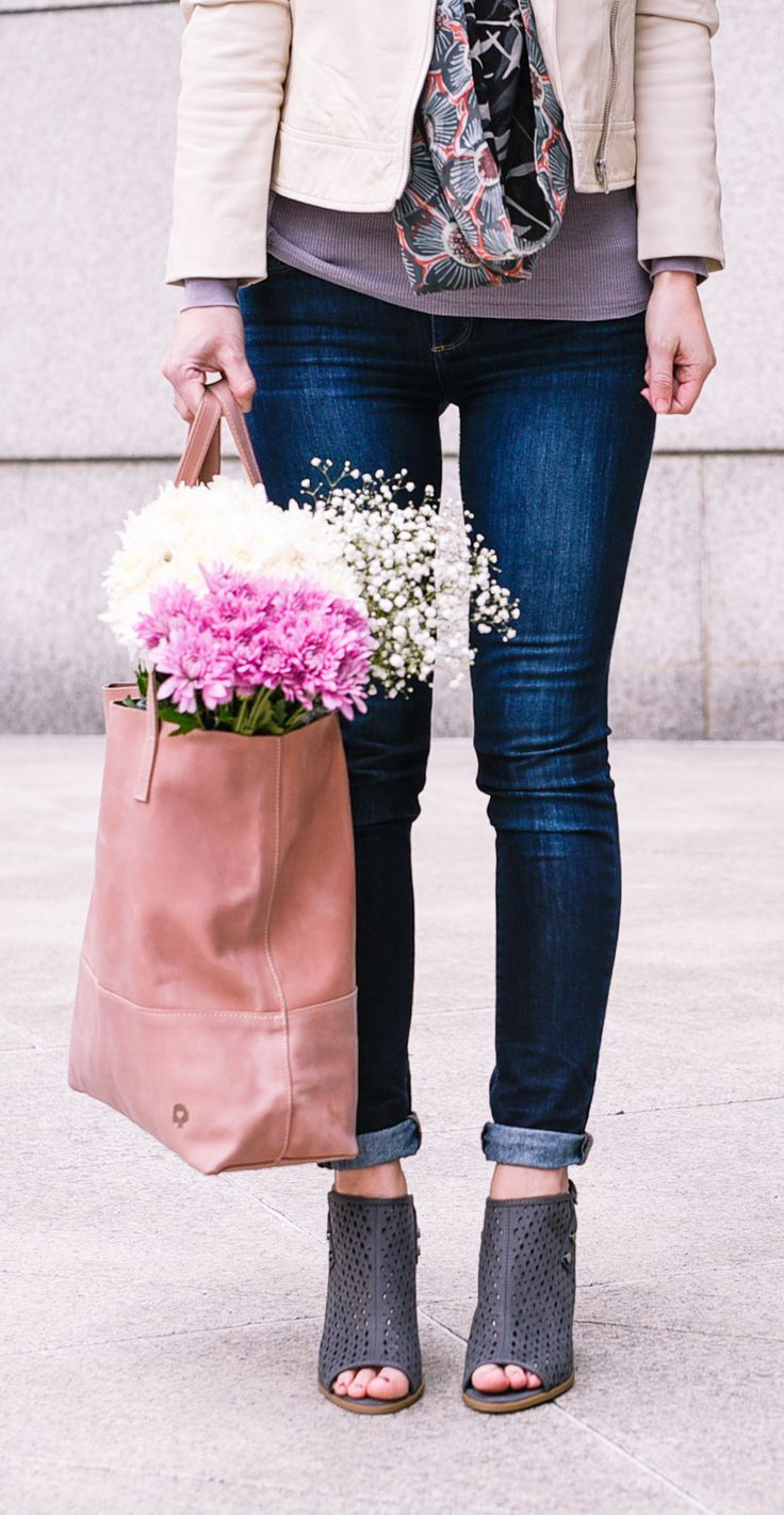 White Leather and Fresh Flowers Autumn fashion women