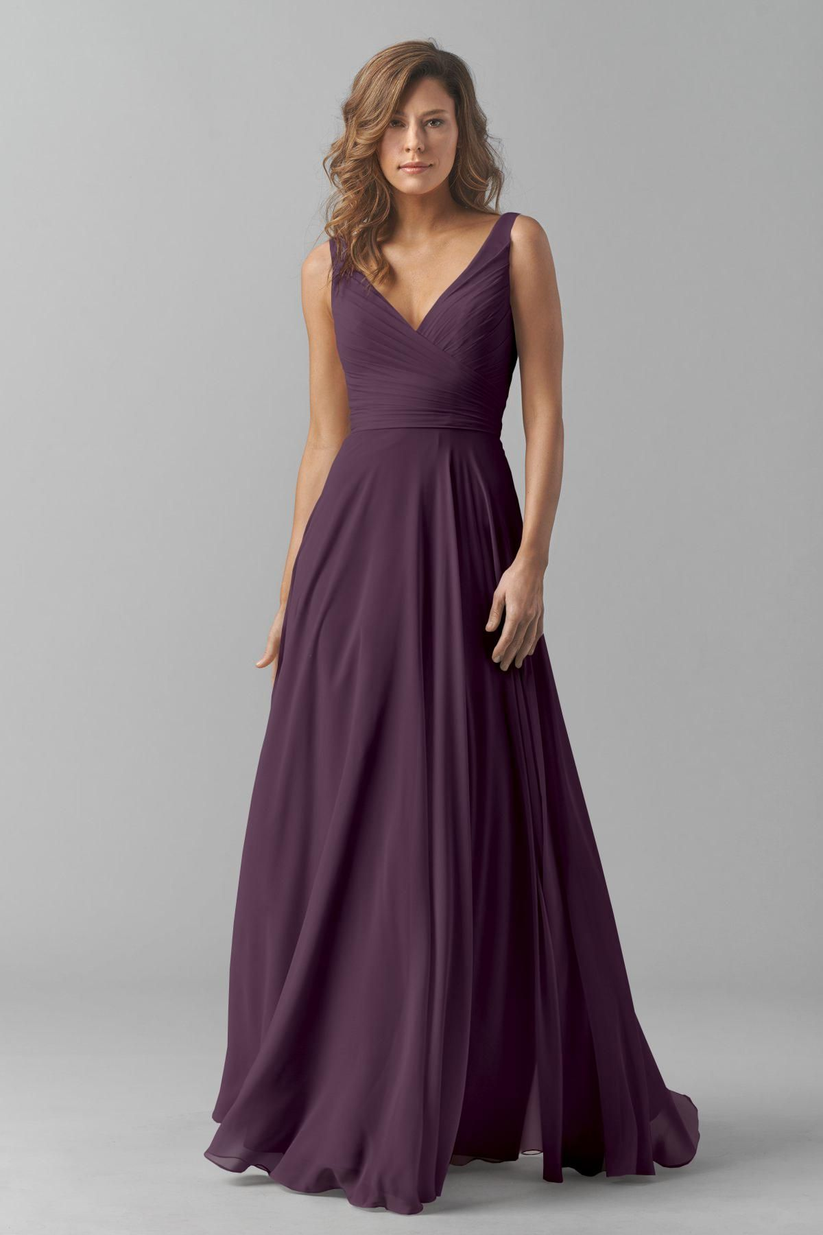 Gray A-line Chiffon V-neck Long Bridesmaid Dresses(BD1455) | Mum\'s ...