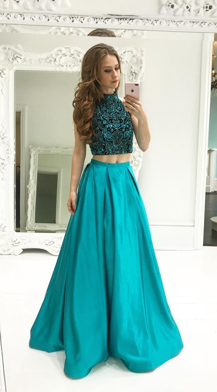 Distinct champagne prom dresses two piece beads black and champagne
